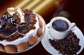 Coffee and cake delicious hot on a beautiful background Royalty Free Stock Photography