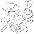 Coffee and cakes monochrome illustration of set Royalty Free Stock Images