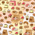 Coffee and cakes seamless pattern with bakery goods Royalty Free Stock Images