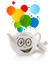 Coffee can with colorful abstract speech bubble isolated on white Royalty Free Stock Images