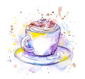 Coffee cappuccino cup. Watercolor
