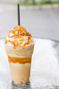 Coffee caramel frappe close up Royalty Free Stock Photo