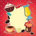 Coffee card cupcake and sweets Royalty Free Stock Images