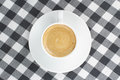 Coffee on a checkered tablecloth Stock Photo