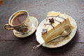 Coffee and cheesecake breakfast Royalty Free Stock Photo