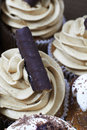 Coffee and chocolate cupcakes. Royalty Free Stock Image
