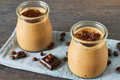 Coffee and chocolate dessert in a glass jar Royalty Free Stock Photo