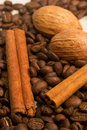Coffee cinamon and nut as background Stock Image
