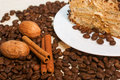 Coffee cinamon nut and plate with cake as background Stock Image