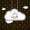 Coffee in clouds with vintage pattern Royalty Free Stock Photo