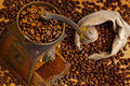 Of coffee. coffee beans and coffee grinder Royalty Free Stock Photos