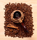 Coffee and coffee beans the star anise cinnamon top view Royalty Free Stock Photo