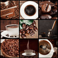 Coffee concept collage with beans and cup Stock Photography