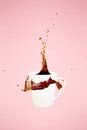 Coffee concept. Minimal art. Solid background. Coffee splashes.