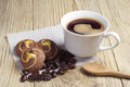 Coffee and cookies with chocolate cup of hot on wooden background Stock Images