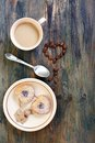 Coffee cookies and heart of coffee beans on a wooden table Royalty Free Stock Photo