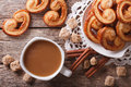 Coffee and cookies Palmiers close-up on the table. horizontal to Royalty Free Stock Photo