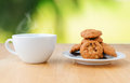 Coffee with cookies on the table outdoor Royalty Free Stock Image
