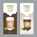 Coffee Coupon Set. Free Cup. Vector Royalty Free Stock Photo