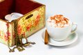 Coffee with cream on the table Royalty Free Stock Photo