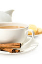 Coffee with cream and toasts close up Royalty Free Stock Photo