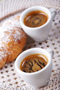 Coffee with croissant cup of Stock Images