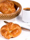 Coffee and croissant fresh continental breakfast of Stock Images