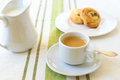 Coffee with croissant some milk on the side Royalty Free Stock Photos