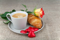 Coffee, croissants, heart chocolate, roses Royalty Free Stock Photo