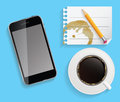 Coffee cup with abstract tablet vector illustration on business theme Stock Photography