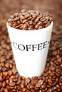 Coffee cup background with text and beans Royalty Free Stock Photography