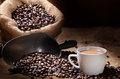 Coffee a cup of with bean Royalty Free Stock Photo