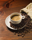 Coffee cup and beans view from above Royalty Free Stock Images