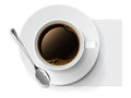 Coffee cup a of black with spoon Royalty Free Stock Photo
