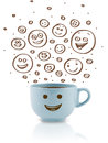 Coffee-cup with brown happy smiley faces