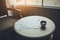 Coffee cup on business working desk of lawyer