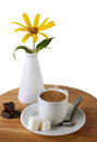 Coffee cup and Chocolate ,sugar   and flower Royalty Free Stock Image
