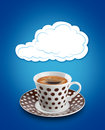 Coffee cup cloud bubble over a Stock Image