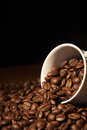 Coffee cup with coffee beans time a Royalty Free Stock Photos