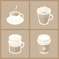 Coffee cup collection vector illustration of various cups in modern flat design isolated on brown background Royalty Free Stock Images