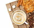 Coffee cup with cookies and cinnamon Stock Images