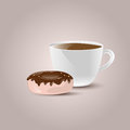 Coffee cup with donut vector illustration of Royalty Free Stock Photography