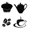 Coffee cup emblem vector illustration Royalty Free Stock Image