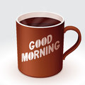 Coffee cup of with good morning text Stock Image