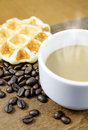 Coffee cup and grain with waffle Royalty Free Stock Photo