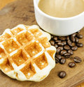 Coffee cup and grain with waffle Stock Images
