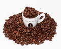 Coffee cup and grouped beans Stock Photo