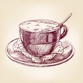 Coffee cup hand drawn vector llustration realistic sketch Royalty Free Stock Photos