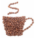 Coffee cup made from coffee beans isolated on white background Royalty Free Stock Photo