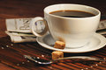 Coffee cup and newspaper Royalty Free Stock Photo